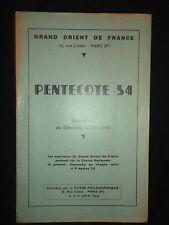 Pentecôte 54 - Grand Orient de France - Foyer philosophique GODF Franc Maçon