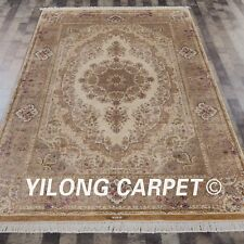 YILONG 6'x9' Handknotted Silk Rug Beige Family Room Porch Carpet YWX077A