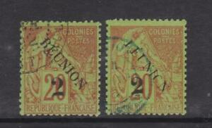 Reunion - SG 31/32 - f/u - 1891 - 2c on 20c with two different surcharges