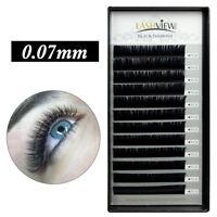 3D Volume Silk Eyelash Extensions Individual Semi-permanent Lashes 0.07mm B C D