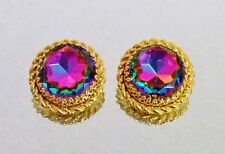 760~Vintage Signed Schiaparelli Gold Tone Watermelon Rhinestone Clip Earrings**