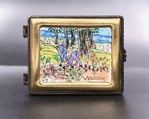 "KELVIN CHEN Enamel Hand Painted Copper Trinket Box, Rare Van Gogh ""The Diggers"""