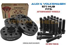 4pc 30mm Audi 5x100 5x112 Black Hubcentric Wheel Spacer Kit Fits A6 S4 S6 S8 TT