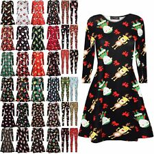 Ladies Christmas Tree Santa Head Womens Xmas Gift Tie Candy Stick Swing Dress