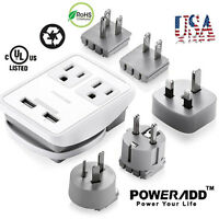 Universal World Travel Adapter Dual USB AC Power Plug Converter UK/US/AU/EU/JP