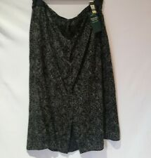 NWT M&S Long Washable Viscose Black Floral Buttons Up Skirt Size 20 Waist 34""