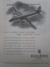 8/1947 PUB ROLLS-ROYCE MERLIN TRANS CANADA AIR LINES TCA CANADAIR NORTH STAR AD