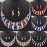 Women Crystal Spiral Pendant Chain Choker Chunky Statement Bib Necklace Jewelry
