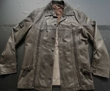 HUGO BOSS RED LABEL MENS DESIGNER BRAIDED FRONT 100% LEATHER JACKET SIZE: MEDIUM