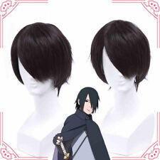 BORUTO -NARUTO THE MOVIE Uchiha Sasuke Black Short Cosplay Hair Wig+Wig Cap