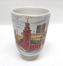"Vintage Rorstrand Lars Thoren Ceramic Tumbler Cup City Scene 4 1/4"""