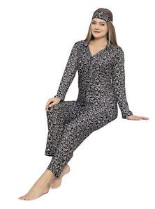 Damen Pyjama Set Langarm Schlafanzug Nachtwäsche 2-Teiler Schwarz,Baumwolle 4610
