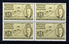 VIRGIN ISLANDS KG VI 1951 24c. Olive  A BLOCK of FOUR SG 134 MNH