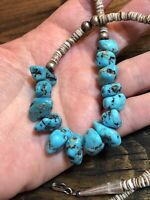 Vintage Morenci Turquoise Necklace, 197Os Old Stock, 128tcw Nuggets, Heishi, 925