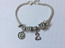 "Michael Anthony Sterling 925 Charm Bracelet sz  7.5"" 4 Charms Letter K J  Disney"