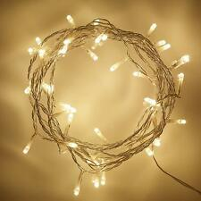 50 Indoor LED Christmas, Wedding, Bedroom Warm White Clear Cable Fairy Lights