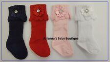 Baby Girls Knee High Socks SATIN FLOWER NB TO 18 MONTH RED , PINK, WHITE , NAVY