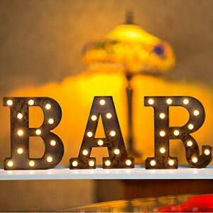 Vintage Rust Bar Signs Light Up Letters, Illuminated Industrial Style, BAR sign