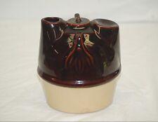 Old Vintage Antique Primitive Stoneware Pottery Crock Jug Brown Pour Spout USA