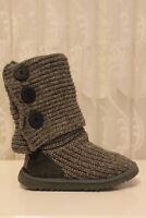 UGG Classic Cardi B Button Grey Chunky Knit Tall Long Warm Boots UK 4 - 5.5 -6.5