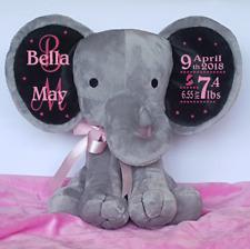 Personalised Elephant Baby Birth Stats Keepsake Gift New Born Baby Girl/Boy Gift