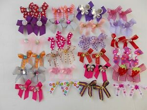 48  Fancy BLING Dog Pet Child Baby Grooming Bows 2 sizes color variety Lot 114