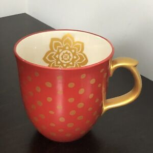 The Pioneer Woman Red & Gold Polka Dot Coffee Mug Lotus Flower Stoneware
