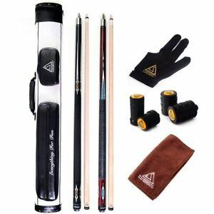 "CUESOUL 2pcs 58"" 19oz Pool Cue Billiards Sticks 2x2 Hard Pool Cue Carrying Case"