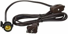 Clip-In Lamp Cord for Salt Lamps, Village Houses - 6 Foot Brown, Switch, Socket