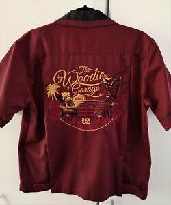Rumble59 Rockabilly Bowling Shirt The Woodie Garage Größe M Weinrot Stickereien