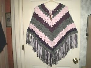 Handmade Girls pink and Grey Crocheted Poncho for 8 to 12 years