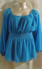 MY FAVORITE THINGS by Colleen Lopez~Turquoise~ Peasant~  Lined Tunic Top~M~EUC