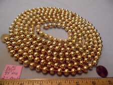 "Christmas Garland Mercury Glass Antique Gold 99"" Long 3/8"" Beads #Pl19 Vintage"