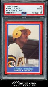 1987 Fleer Hottest Stars Barry Bonds Rookie RC #5 PSA 9 MINT! 🏆