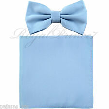 New Light Baby Blue Men's pre tied Bow tie & Pocket Square Hankie set