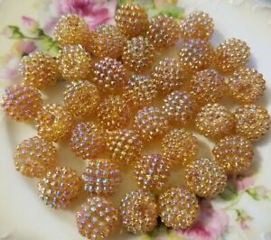 100 Pièces Vintage 15mm Iridescent Doré Baie Perles Plastique Acrylique Craft