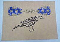 Antique Islamic Naqsh Calligraphy crow rare quran Arabic Persian Zoomorphic Art