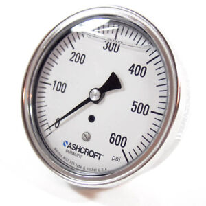 "Ashcroft Air Pressure Gauge 0-600 PSI, Stainless Steel, 3-1/2"" Dial"