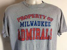 Vtg 80s Milwaukee Admirals T-Shirt Gray XL IHL AHL Hockey Nashville Predators