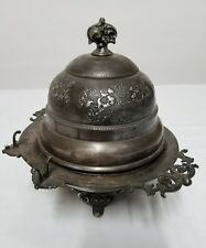 ANTIQUE SILVER PLATE BUTTER DISH  MONARCH SILVER CO. TRIPLE 269.5 FREE SHIPPING