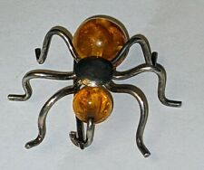 VINTAGE BALTIC AMBER SILVER BEETLE  INSECT SPIDER BROOCH PIN UNUSUAL PIECE