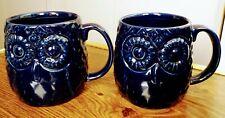 2 Owl Coffee Mug Tea Cup Textured Raised Large 20 Oz Navy Blue Home Essentials