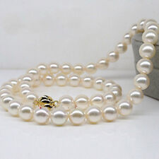 18Inch 10-11mm Natural south sea perfect round White pearl necklace 14K JN1649