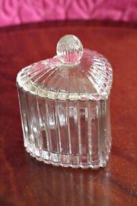 Vintage Art Deco Pressed Glass Heart Shaped Box