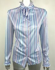 Vintage Women's Blouse Top Tie Ruffle Neck Striped Pink Blue Gray Large 70s 80s
