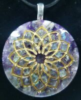 Amethyst & Labradorite Crown Chakra Orgone Pendant, EMF Protection Necklace