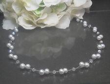 Bezaubernde Perlen Kette Collier weiß irisierende Glas Biconen TOP handgefertigt