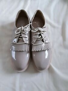 Ladies Flat Lace Up patent Shoes.Colour Nude Rose Size 5 By New Look. New in box