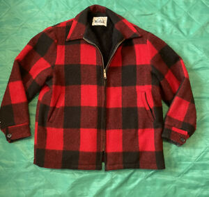 VINTAGE WOOLRICH  Red Black Mackinaw Buffalo Plaid Wool Hunting Coat Jacket L
