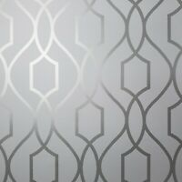 Contemporary Geometric lines modern wallpaper gray silver metallic wallcoverings